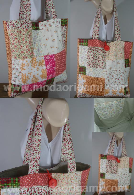 Bolsa Em Origami De Tecido : Bolsa patchwork p moda origami